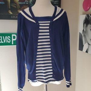 Hot Topic Nautical /Navy Pinup PUG Sweater  Set